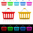 Icons with shopping baskets — Stock Vector