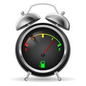 Fuel indicator in clock design. — Stock Vector