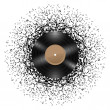 Vinyl disc with music notes. — Stock Vector