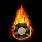 Vinyl disc in flames of fire. — Stock Vector