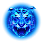 Head of blue fire tiger. — Stock Vector