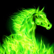 Green fire horse. — Stock Vector
