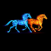 Ogień koni. — Wektor stockowy