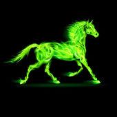 Green fire horse. — Stok Vektör