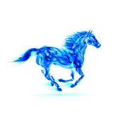 Running blue fire horse. — Stock Vector