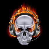 Fiery skull in headphones. — Wektor stockowy