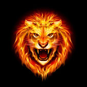 Head of fire lion. — Stock Vector