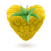 Yellow raspberry heart. — Stockvektor