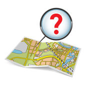 Map booklet  with question mark — Stock Vector