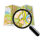 Map booklet with zoom — Stock Vector