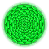 Circle with roof tile pattern in green. — Stockvector