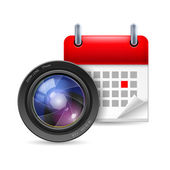 Camera lens and calendar — Stock vektor