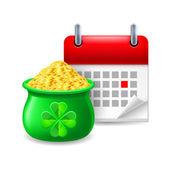 Pot of gold and calendar — Stock Vector
