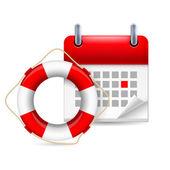Flotation ring and calendar — Stockvector
