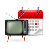 Old TV-set and calendar — Stock Vector