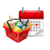 Food basket and calendar — Stock Vector