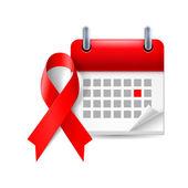 AIDS awareness ribbon and calendar — Stockvector