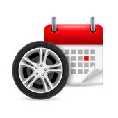 Car tire and calendar  — Stock vektor