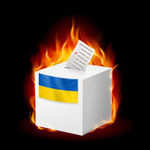Fiery ballot box of Ukraine. Revolution sign — Vector de stock