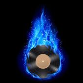 Vinyl disc in blue fire. — 图库矢量图片