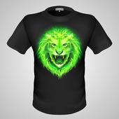 Green fiery lion head. — 图库矢量图片