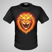 Fiery orange lion head. — Wektor stockowy