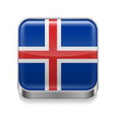 Metal  icon of Iceland — Stock Vector
