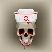 Teschio in infermiera tappo di spurgo — Vettoriale Stock