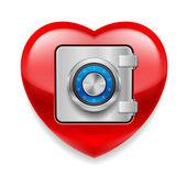 Corazón rojo brillante como una caja fuerte — Vector de stock
