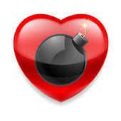 Red heart with bomb — Stock Vector