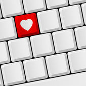 Keyboard with heart button — Stock Vector