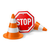 Traffic cones and red stop sign — Stock Vector