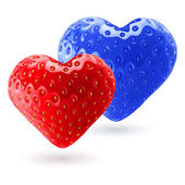Red and blue strawberry hearts — Stock Vector