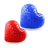 Red and blue strawberry hearts — 图库矢量图片