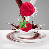 Raspberries with milk and chocolate — Stockvektor