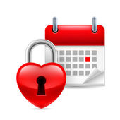 Heart lock and calendar — 图库矢量图片