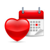 Red heart and calendar — 图库矢量图片