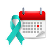 Teal awareness ribbon and calendar — Stock Vector