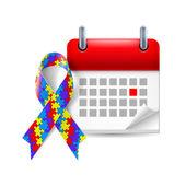 Puzzle awareness ribbon and calendar — Stock Vector