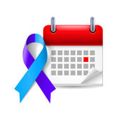 Blue and purple awareness ribbon and calendar — Stock Vector