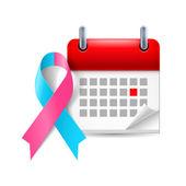 Pink and blue awareness ribbon and calendar — Stock Vector