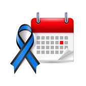 Blue and black awareness ribbon and calendar — Stock Vector