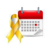 Gold awareness ribbon and calendar — Stock Vector