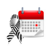 Zebra-print awareness ribbon and calendar — Vettoriale Stock