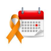 Orange awareness ribbon and calendar — Stock Vector
