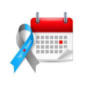 Diabetes awareness ribbon and calendar — Stock Vector