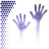 Polotónování ruce silueta — Stock vektor