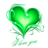 Green heart with I love you text — Wektor stockowy