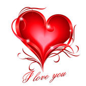 Red heart with I love you text — Stockvector