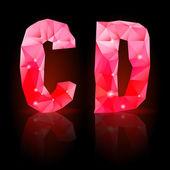 Ruby polygonal font — Stock Vector